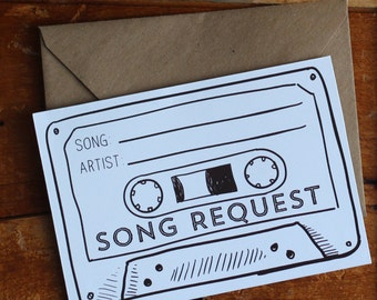 INSTANT DOWNLOAD Cassette Tape Song Request printable digital pdf file