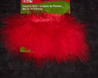 marabou feather trim with satin ribbon binding,red,1 yd,costume trim,marabou feathers,costumes,crafts