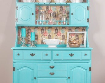 Teal Coastal Cottage China Cabinet/Hutch/Bookcase