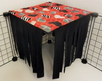 Peek-a-Boo Hideout for 1x1 grid.. Red Animal Print Hearts with Black