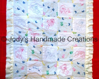Handmade Baby Quilt  / Embroidered Pinkwork and Bluework Baby Things  30 X 41 /  OOAK / FREE SHIPPING