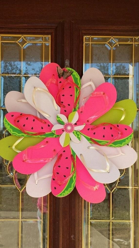 Unique Handmade Wall Decor : Unique handmade flip flop wreath door wall decor for the pool