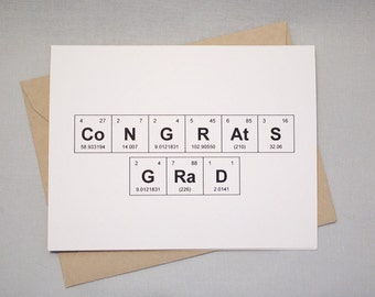 "Graduation Congratulations Periodic Table of the Elements ""CoNGRAtS GRaD"" Graduation Card, 100% recycled, eco friendly"