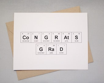 "Graduation Congratulations Periodic Table of the Elements ""CoNGRAtS GRaD"" Graduation Card / Sentimental Elements Congrats Grad Card"