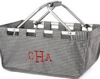 Embroidered Houndstooth Market Tote. Collapsible. Monogram. Black and white. Personalized FREE. Market Basket. Farmers Market.  Storage