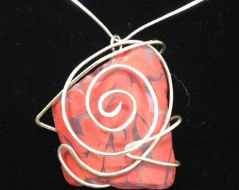 Silver Wrapped Red Glass Pendant