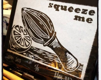Squeeze Me hand pulled linocut on Japanese Hosho paper