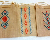 Ethnic Jute Drawstring Pouches with Cross Stitch Embroidery  - Natural, Set of Three