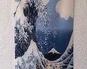 Maneki Neko tapestry hanging wall The wave Okusai lucky cat  32x14 inches 82x35 cm