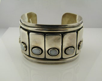 Sterling Silver Cuff Set with Cabochon Opals
