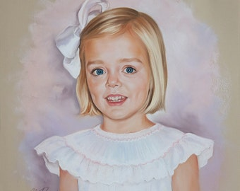 Original Pastel Portrait Painting, Custom child portrait from a photo