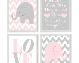 Elephant Nursery Art, Baby Girl Nursery, Pink Gray, Chevron Prints, Baby Girl Art, LOVE, First We Had Each Other, Elephant Wall Art, Gift