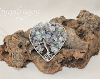 Rainbow Fluorite heart shaped tree of life pendant with 20'' chain