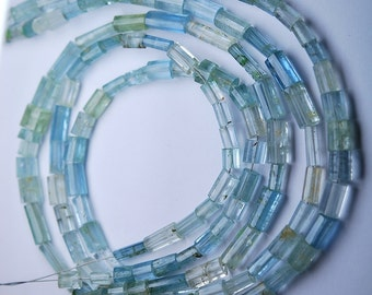 14 Inch Strands,SUPERB-FINEST Quality,Aquamarine Faceted Tube,7-4mm