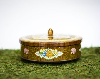70s Metal Tin Can Box from England, Daher Brown Floral Pattern