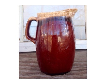 Hull Creamer -Brown Glaze Pottery Pitcher- Oven Proof