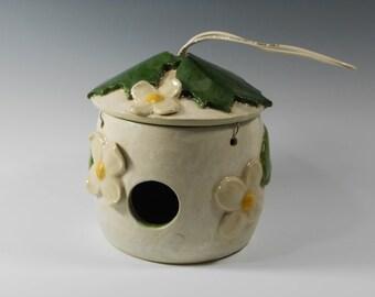 Pottery bird house - handmade bird house - ceramic birdhouse - white birdhouse - dogwood birdhouse - garden art - leaf birdhouse  O81