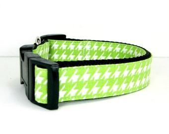 Dog Collar- Green Houndstooth  Dog Collar   (Mini,X-Small,Small,Medium ,Large or X-Large Size)- Adjustable
