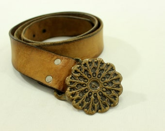 70's Leather Belt with Brass Belt Buckle