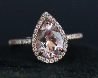 Pink Morganite Ring Rose Gold Morganite Pear 10x7mm and Diamond Halo Engagement Ring in 14k Gold