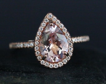 LIMITED TIME SALE - Under Dollar 400 Pink Morganite Ring Rose Gold Morganite Pear 10x7mm and Diamond Halo Engagement Ring in 14k Gold