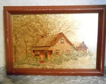 Signed Oil on Glass w/ 18 K. Gold Leaf