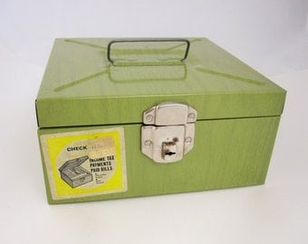 Olive Green Metal Box With Key - Organizer - Stash and Store - Handle - New/Old Stock With Stickers - Faux Green Wood - Metal Container