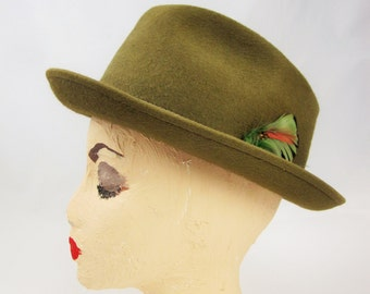 A Gorgeous Mocha Brown 'Stevens' Felted Wool Trilby Straight Out of the 50s - 3X Beaver - Size 7 - Dudes and Dudettes