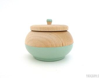 Jewelry box, mint green wooden box, tiny box, round wood box, painted wood box, stocking stuffer, gift for her