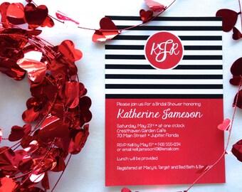 Modern Monogram Invitations - Monogram Bridal Shower Invitations - Personalized Modern Striped Printable Invitations - Red Black and White
