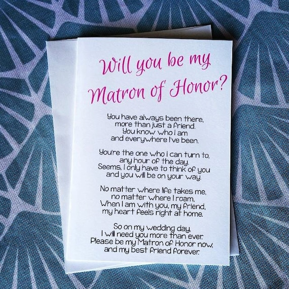 SALE Will You Be My Matron Of Honor Poem Matron Of Honor