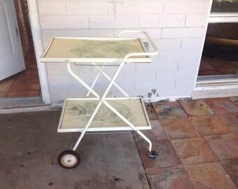 Vintage Metal Rolling Bar Cart Tea Trolley