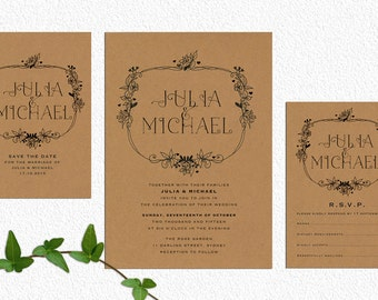 Rustic Wedding Invite – Love Vines Printable Wedding Invitation Suite
