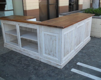Store counter custom made from relaimed wood USA made, shabby chic style