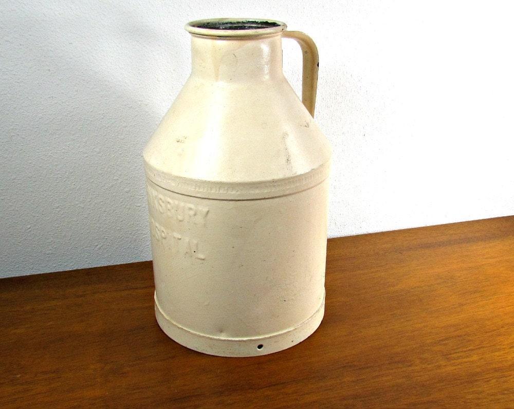 10 Qt Metal Milk Jug Tewksbury Hospital Rare