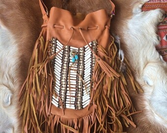 Large leather fringe bag