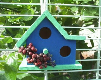 Double Wide Bird House Spearmint Roof/Dark Blue House (38)