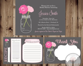 BRIDAL PACKAGE, Mason Jar Invitation, Bridal Shower Invitation, Wedding Shower, Mason Jars, Chalkboard, invite, Invitation