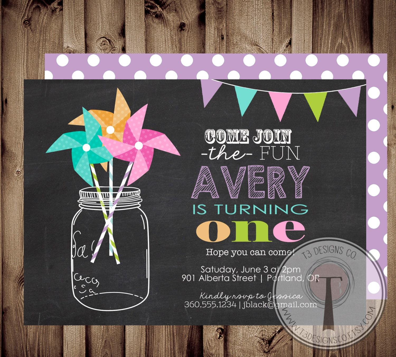 PINWHEEL Rainbow Confetti birthday invitationmason jar pinwheels