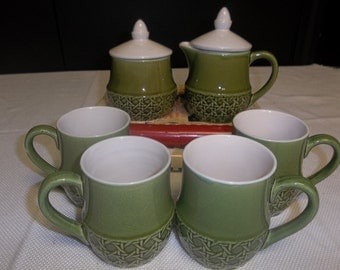 CLEARANCE! was 30.00 1970's Japan Avocado Green Sugar and Creamer with Four Mugs, Matching Coffee Set T
