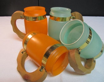 SALE! was 12.00 Siesta Ware Frosted Mugs Set of Four in Orange and Blue S
