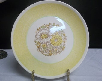 SALE! was 16.00 Vintage USA Ceramic Platter with Yellow and Green Floral, 317T