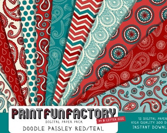 Paisley digital paper - Doodle paisley red and teal background paper  - 12 digital papers (#142) INSTANT DOWNLOAD