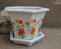 Vintage Flower Power Porcelain Planter, Hexagon Flower Pot, Japanese Planter