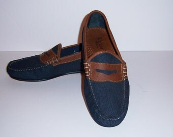 Vintage Weejuns Bass Denim Leather Classic Penny Loafers 7 D or 8.5 Medium