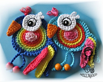 Crochet PATTERN, Applique Parrot, Patch, Application, Lorikeet, Bird, DIY Pattern 161