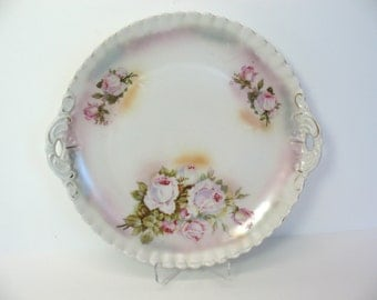 On SALE  Pink Roses Plate Porcelain Rose Plate Charger Bavaria Pie Crust with Handles