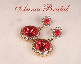 "Bright red crystal earrings, red Bridal, red wedding, rivoli, Swarovski, ""Monarch"" earrings"