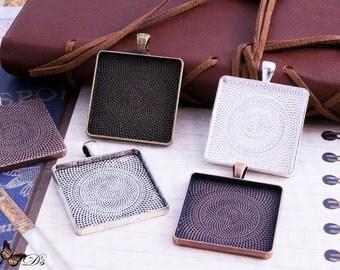 4- 30mm Square Bezel Tray Settings - 4 colors - Shiny Silver, Antique Silver, Antique Brass, Antique Copper.