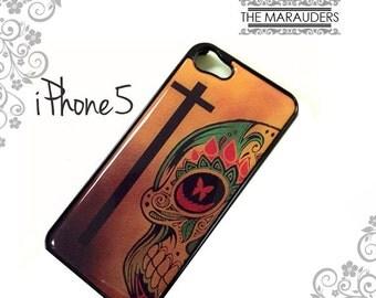 Black Iphone 5 case Cross Rasta Sugar skull brown dia de los muertos Iphone case cover skin